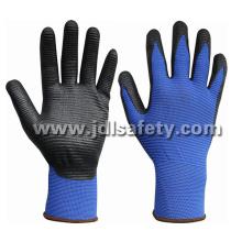 Fibra de Banboo y Spandex de punto guantes con nitrilo espuma Micro de trabajo capa (N1568)