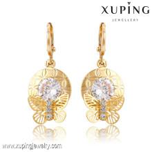 91366 Xuping Novo projetado brincos banhados a ouro por atacado com pedra branca