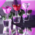 Flor de cristal de cristal personalizada barata para los recuerdos