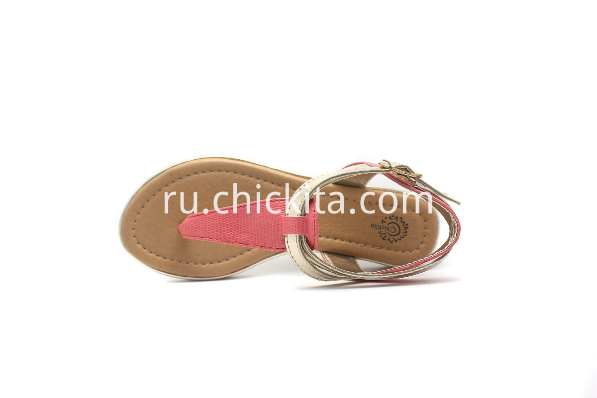 Children Flat Fashion Sandals With Metal PU Strip