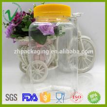 Frascos de plástico transparentes com doces de armazenamento de alimentos com tampa