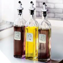 500ml / 750ml Aceite y Sauce Vinagre de Vinagre Botella con Tapa de Boquilla