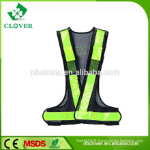 High visible mesh fabric green safety reflective running vests