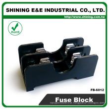 FB-6012 Para fusível de vidro 6x30mm Trilho de 600V 2 pólos com bloco de fusíveis de 15 A