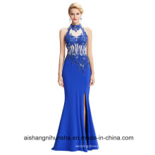 Backless Halter High-Split Beading Prom Dress