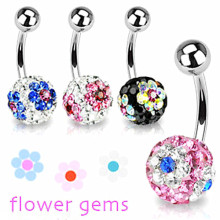 Fleur Gem Belly Button Ring Boule de cristal