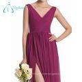 Pleat Split Front Chiffon V Neck Sleeveless Bridesmaid Dresses