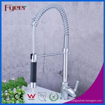Black Pull-Down Spray Brass Kitchen Sink Faucet (QH0783-3)