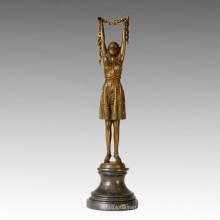 Danseuse Statue Fleurs Fille Bronze Sculpture, D. H. Chiparus TPE-359