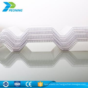 Hoja de policarbonato de onda clara protegida por UV con forma celular