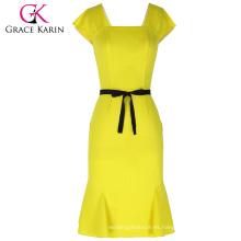 Grace Karin Ladies Cap manga cuello cuadrado de las caderas-envuelto sirena Bodycon mujeres vestido amarillo con cinturón negro CL010450-1