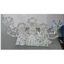 Crystal Candle Holder with Mirro Base for Home Decoration