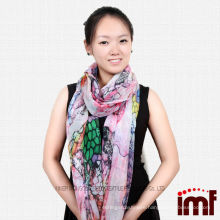 New Arrival Colorful Fish Scale Patterned Modal Cashmere Scarf Wrap Girls from China