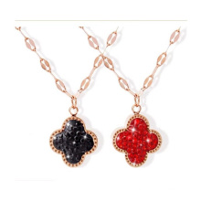European and American Jewelry Four-Leaf Clover Love Clover Diamond Black Red Pendant 18K Rose Gold Titanium Steel Stainless Steel Necklace Women