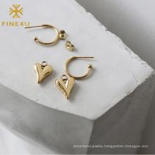 Women Trendy 18k Pvd Gold Plated Stainless Steel Heart Dangling Huggie Earrings