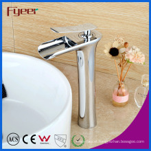 Fyeer New High Body Single Handle Brass Waterfall Basin Faucet
