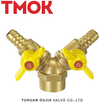 brass double butterfly handle inner wire gas valve