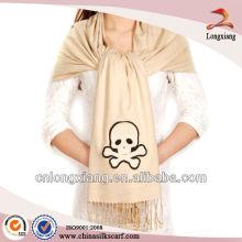 Grey Solid Jacquard Silk Pashmina Shawl