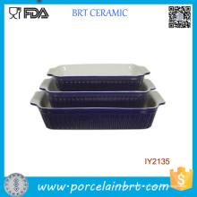 3PCS pas cher bleu en céramique moule à gâteau Pan Set