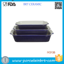 3PCS Cheap Blue Ceramic Cake Pan Cookware Set