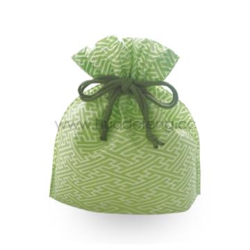 Japan Non-woven Green Temple Drawstring School Lunch Bag