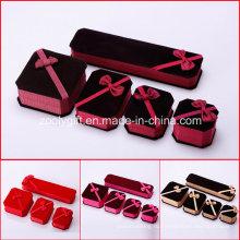 Коробка ювелирных изделий ткани ювелирных изделий / ожерелье / браслет Коробка упаковки с смычком тесемки