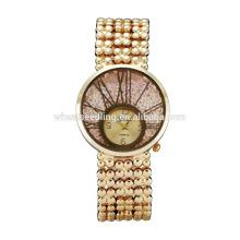 Último diseño oro plateado cuarzo de Ginebra relojes reloj de pulsera de señoras