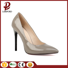 Gray PU  sharp shape high heel shoe