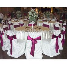 housses de chaise de polyester 100 %, couverture de chaise d'hôtel/Banquet, ceinture en Satin