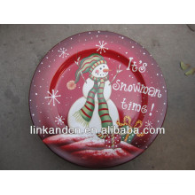KC-02542beautiful ceramic christmas snowman plates,funny round flat pizza/cake plates