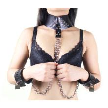 Sm sexo algema algemada anel de pescoço com cadeia de metal sexo Bondage Sexo restrição Bdsm sexo brinquedos