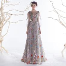 OB96333 3D flor vestido de noite suzhou vestido mulheres festa longo vestido de noite de designer europeu