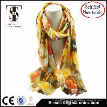 Nueva solf material de impresión de alta calidad de la flora de gran tamaño bufanda bufanda uso en la playa