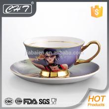 Porcelana moderno oro rim té platillo taza