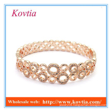 HOT SALE fashion jewelry rose gold plated indian crystal bangle