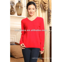 Simple women winter sweater V neck/100% pure cashmere jumper