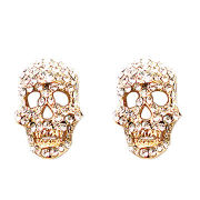 Skull shape stud earring, decorated crystal, sparkling and fashion, OEM orders accepted