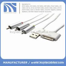 Composite Cabo AV Carregador USB para iPhone 4S 3GS iPad iPod Touch