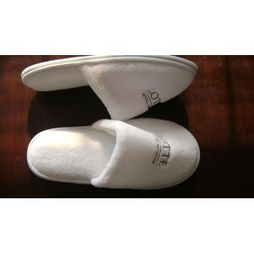 5 Star Hotel White Velour Close Toe Slipper