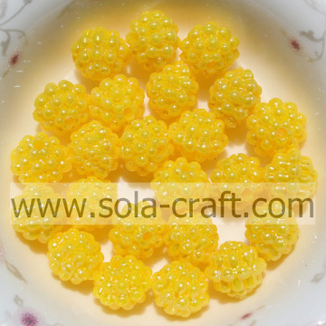 Charm Berry Shape Yellow Color Solid Acrylic Beads 10MM