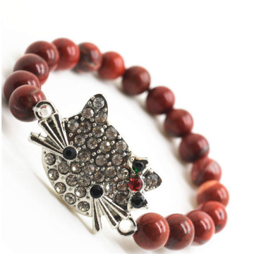 Red Jasper 8MM Round Beads Stretch Gemstone Bracelet with Diamante alloy cat head Piece