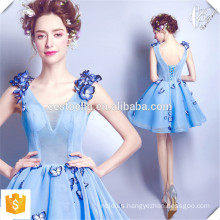 Vestidos nuevos de la señora Dresses azul claro corto con la mariposa hecha a mano Fábrica del OEM Vestidos cortos de la manera los mini para las señoras