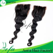 Cierre 100% sin procesar de la peluca del cordón del cabello humano de la Virgen india
