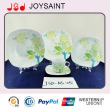 Set de cena de diseño de porcelana de forma cuadrada mejor vendido 16PCS