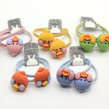 Hot Popular Baby Girl Elastic Band Hair Ties Cute Bird Head Decor Bracelet Hair Band Ponytail Titulares Cartoon Animal Rubber Band