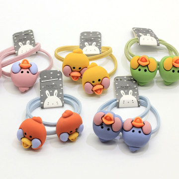 Hot Popular Baby Girl Elastic Band Hair Ties Cute Bird Head Decor Bracelet Hair Band Ponytail Holders Cartoon Animal Rubber Band