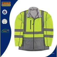 Высокий Vis 2 Tone водонепроницаемый дышащий Softshell куртка