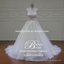 Luxury illusion Neckline Lace Appliqued See Through back Bridal Gown Royal Wedding Dress