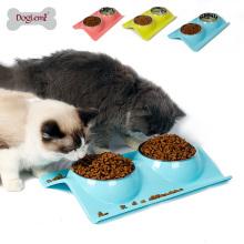 Umweltfreundliche Double Dog Bowl Wasser und Lebensmittel Pet Feeder Edelstahl Pet Bowl