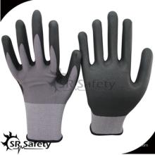 SRSAFETY billig preis / 15g Nylon und Spandex dünne Schaum Nitril Handschuhe / Hand Handschuhe
